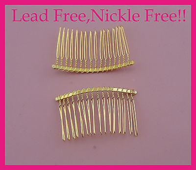 10pcs silver finish 36teeth plain metal hair combs at lead free/&nickle free