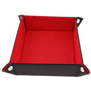 Portable-Collapsible-PU-Leather-Square-Dice-Tray-Red-for-Home-Desktop-DIY