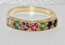9ct Yellow Gold on Silver DEAREST Vintage Style Eternity Ring - All Sizes