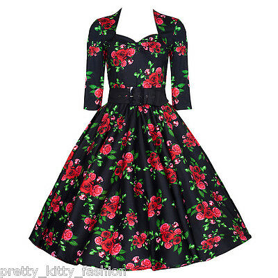 PRETTY KITTY BLACK ROSE 3/4 VINTAGE ROCKABILLY TEA FLORAL SWING PROM DRESS 8-22