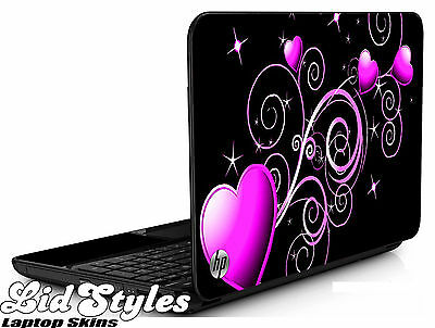 LidStyles PINK HEARTS Vinyl Laptop Cover Skin Decal fits HP PAVILION G6