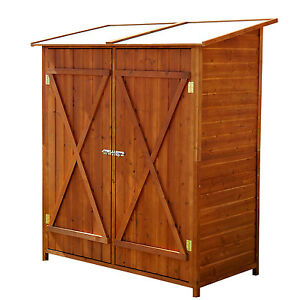 Outsunny Large Patio Storage Shed Wood Cabinet Box Two Doors Yard Garden Yard
