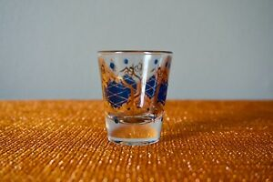 9d81117e031c Vintage 1960s Shot Glass In Blue And Gold   Drink And Barware ...