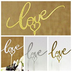 LOVE-Kuchen-Topper-Sparkle-Glitter-Gold-Hochzeit-Dekorieren-Verlobungsfeier-TR