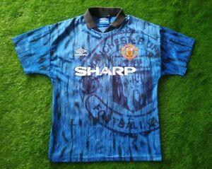 MANCHESTER UNITED 1992/1993 AWAY FOOTBALL SHIRT S SIZE UMBRO SHARP JERSEY