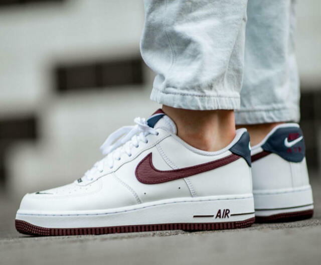 New NIKE Air Force 1 Lv8 Shoes leather Mens white burgundy navy sizes 10 13