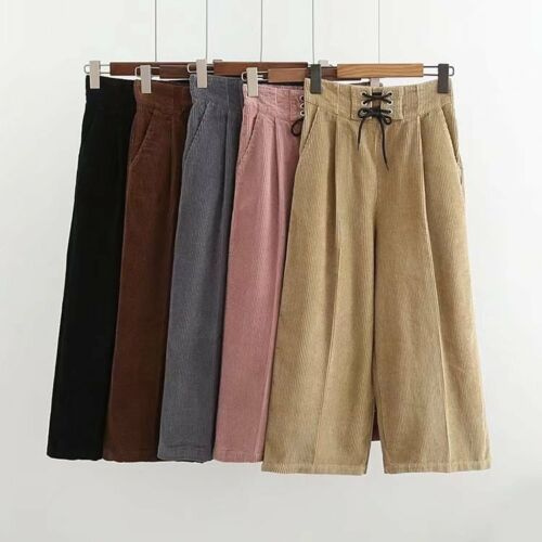 Women Corduroy Pants High Waist Loose Wide Leg Flared Cropped Culottes Trousers