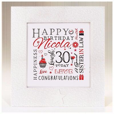 Personalised Heart Plaque ANY AGE 13 16 18 21 30 Birthday Sister Daughter Gift