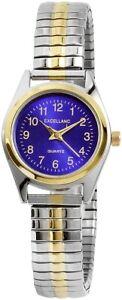 Excellanc-Damenuhr-Blau-Silber-Gold-Analog-Metall-Zugband-Quarz-X1700038003