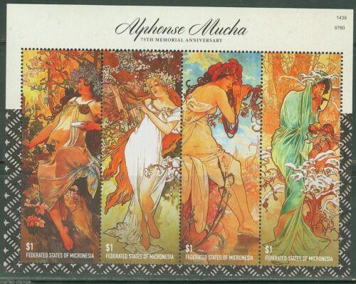 "ALPHONSE MUCHA ART ""FOUR SEASONS"" MINISHEET(4v) 2014 MNH"