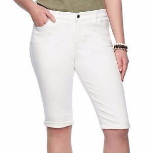 ff5eed219e845 Chaps White Cuffed Twill Capris Pants Womans Plus Size 22W 24W New ...