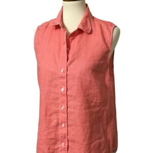 Tommy Bahama Linen Top Womens M Button Up Shirt Sleeveless Coral Orange Blouse