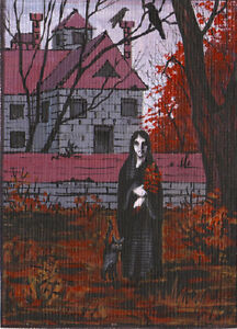 GOTHIC ACEO PRINT OF PAINTING ART RYTA CROW RAVEN WICCA vintage style witch folk