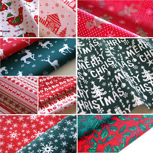 Christmas-Fabric-Polycotton-Reindeer-Holly-Snowflake-Trees-Green-Red-Craft-Metre