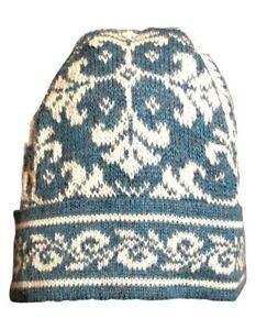 0f3b5f413e8 Image is loading 100-Alpaca-Hand-Knit-Beanie-Hat-Medieval-Pattern
