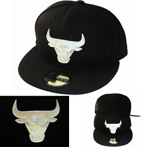 New-Era-NBA-Chicago-Bulls-Black-5950-Fitted-Hat-Front-Metal-Polished-Badge-Cap