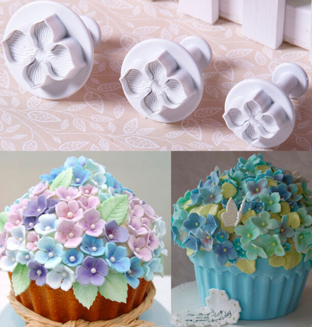 3pcs Hydrangea Flower Fondant Cake Decorating SugarCraft Plunger Cutters Mould