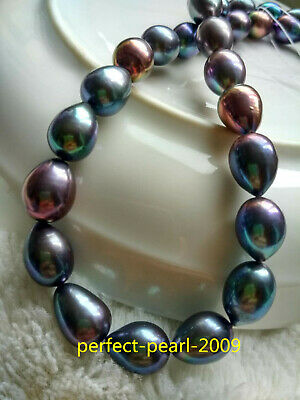 10-11mm White//Gold Real Tahitian Peacock Black Blue Undertones AAA Pearl Necklac