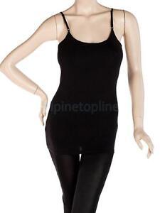 Sexy-Womens-Long-Strap-Cami-Camisole-Tank-Top-Cotton-Vest-T-Shirt-w-Shelf-Bra