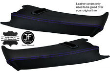 PURPLE STITCH 2X REAR C PILLAR LEATHER COVERS FOR BMW E39 96-03 ESTATE TOURING