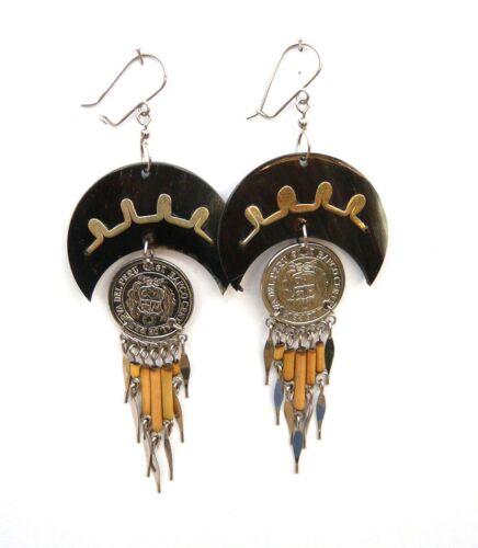 dunkel Peruanische Münzen Sommer Ohrschmuck NEU Paar Chandelier Ohrhänger hell