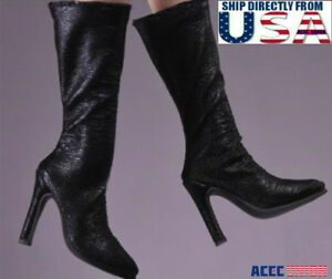 99e53040197e 1 6 Women Black Leather Boots For Hot Toy PHICEN Female Figure ...