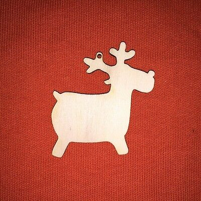 MDF Reindeer Shapes Wooden Craft Blank Christmas Tag Tree Decoration Rudolph
