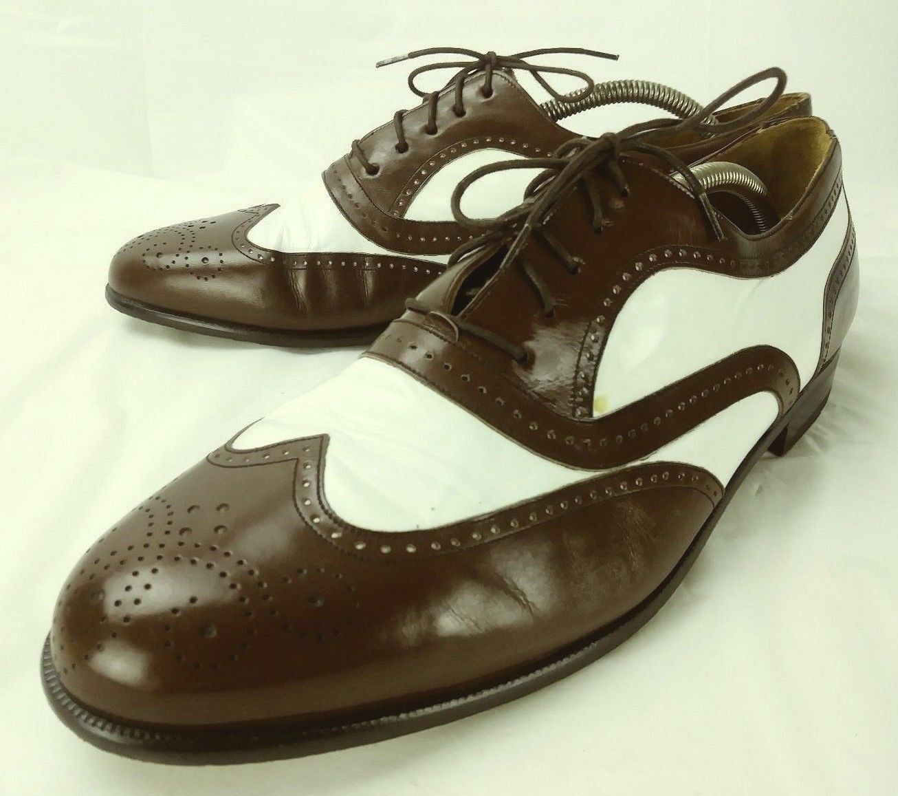 Mezlan Santiago Uomo Shoes Oxfords 10.5 M Brown bianca Leather Lace Wing Tip 650