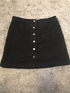 ea0726f2534f Image is loading New-Look-Button-Up-Black-Denim-Skirt