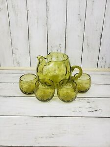 Empoli-Italian-Glass-Pitcher-Set-With-4-Cups-Vintage-Hand-Blown-Coin-Dot-Art