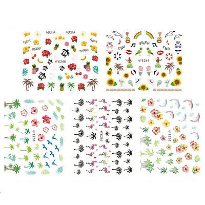 2 Sheet Nail Art Water Transfers Stickers Decals Flamingo Design Decoration EF