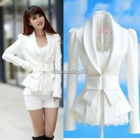 Chic Womens OL Career Tops Slim Suit Blazer Jacket White Bowknot Coat New HOT
