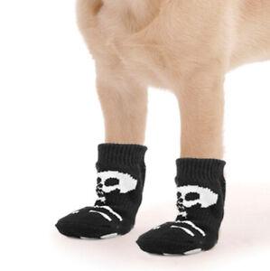 Halloween Skeleton Pattern Pet Dog Puppy Cat Non-slip Socks with Cute Paw Prints Black 1.18 X 2.95 inch