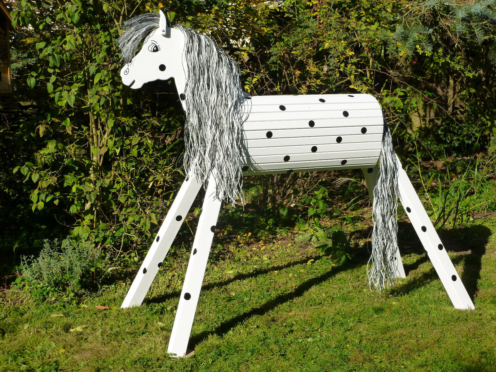 120cm Holzpferd Onkel mit Face und Maul Voltigierpferd wetterfest lasiert NEU
