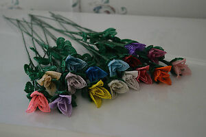 NEW Handmade French beaded flower rose bud YOU PICK COLOR
