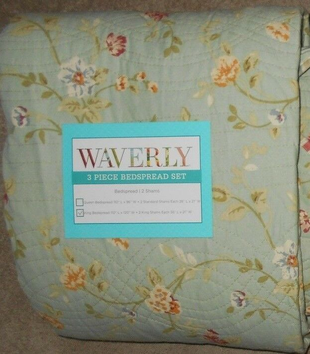 Waverly Garden Glitz Vapor 3 Piece King Bedspread Set NWT