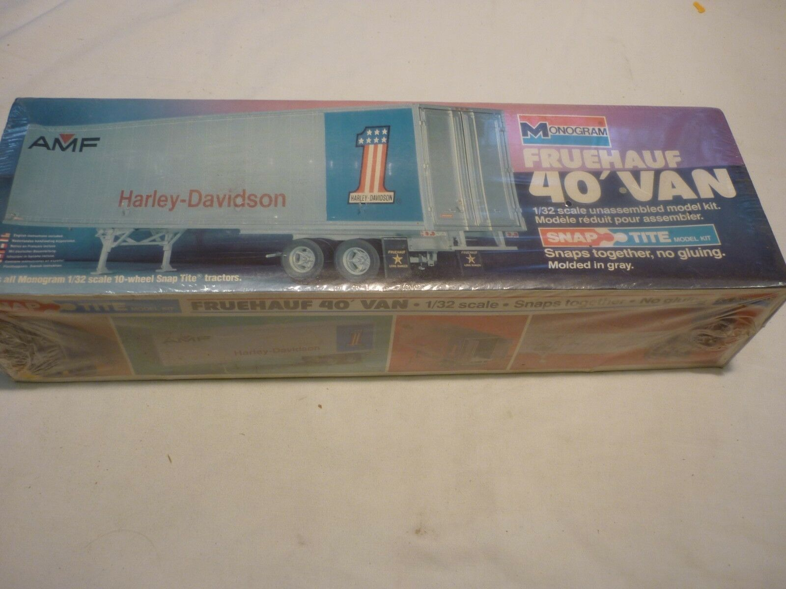 A Vintage monogram un-opened plastic kit of a box trailer, Harley Davidson