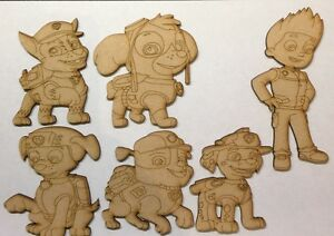 Paw-Patrol-Set-Wooden-Characters-3-and-6mm-thick-Mdf-Laser-Cut-Craft-shape-Blank