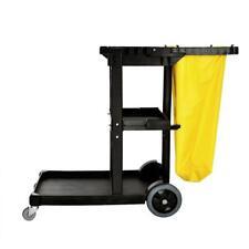 Alpine Industries Janitorial Platform Cleaning Cart Pvc Vinyl Bag 3 Shelf Yellow