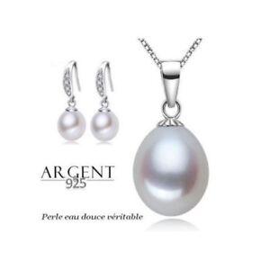 Parure-Bijoux-Perle-de-Culture-Blanche-Argent-925