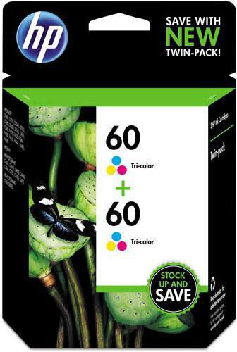 HP 60 Hewlett Packard CZ072FN Ink Cartridge Tricolor double pack Exp 10//2018