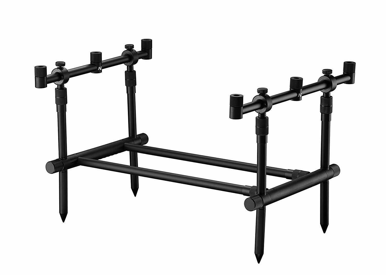ND fácil montado 360 ° 3 Rod Pod Aluminio Pesca De Cochepa Pod con barras de Buzz + Bolsa