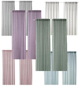 Details zu IKEA HILJA Vorhang, Gardine, (Gardinenpaar 2x 145x300 cm) grau  rosa lila weiß