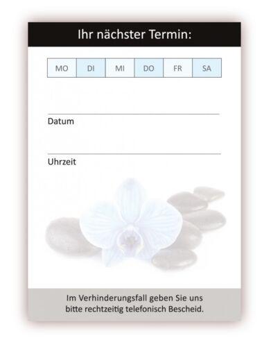 24 x Premium Wellness Terminblöcke je 50 Terminzettel blaue Orchidee Feng Shui