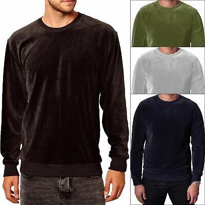 New Mens Plain Classic Velour Jumper Sweatshirt Velvet Sweater Top Casual  S-XXL   eBay
