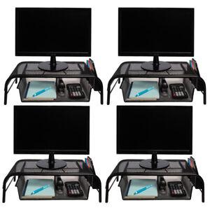 4pk Mesh Metal Monitor Stand Riser Desk Storage Drawer Laptop Computer Organizer