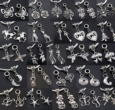 Tibetan Silver Charms Dangle Beads USE FOR DIY Bracelet For Snake Chain