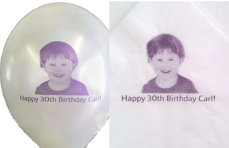 20 personalisiertes foto luftballons mit 20 papierservietten | Passend In Der Farbe  | Das hochwertigste Material