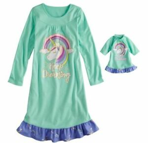 NWT Girls Unicorn Nightgown   Matching Doll Gown Fits American Girl ... 928225109