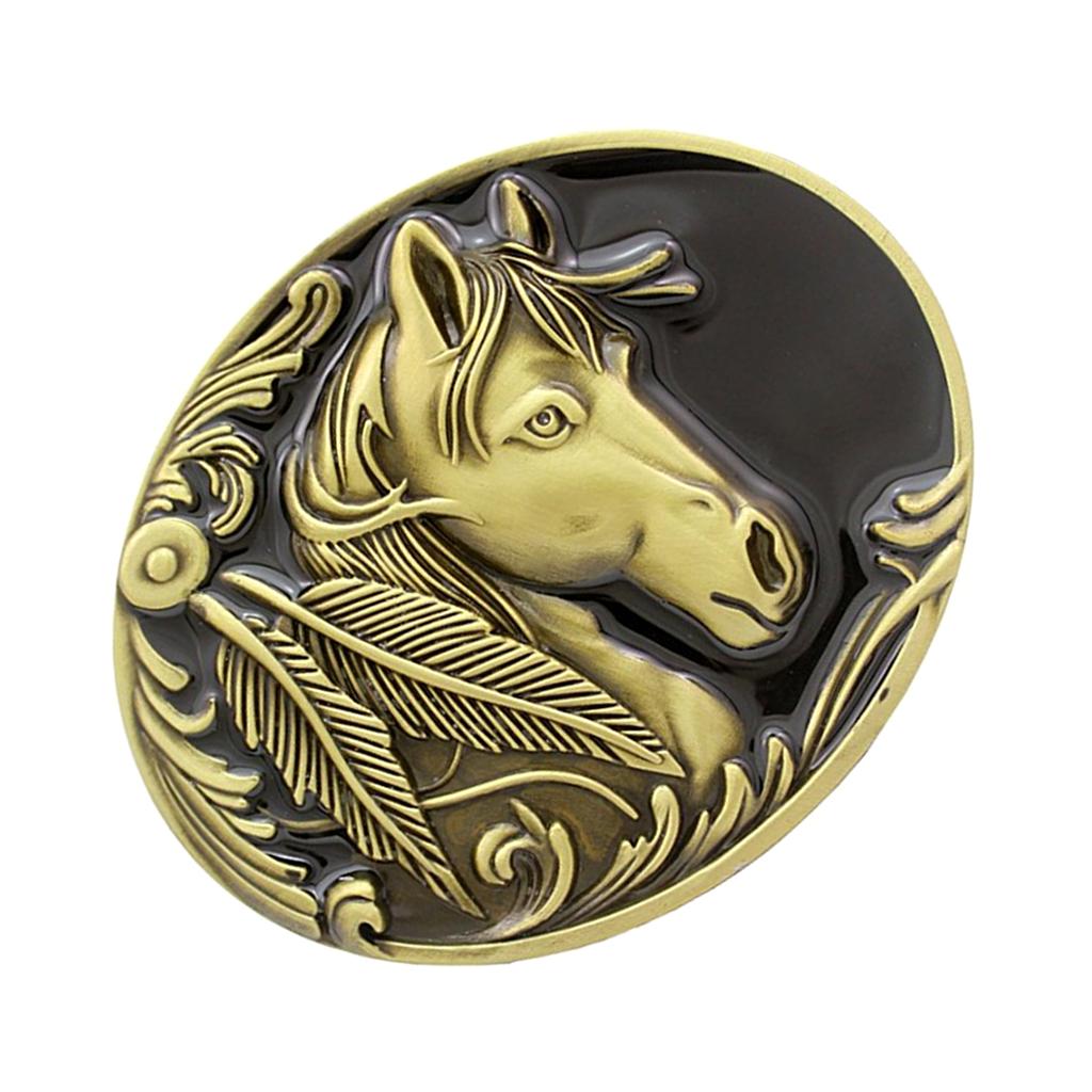 Western Belt Buckle Replacement - Engraved Horse Head - Oval Cowboy Belt Buckle